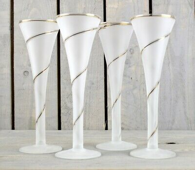 Set Of 4 Beautiful White Champagne Glasses With Gold Spiral With 150 ml