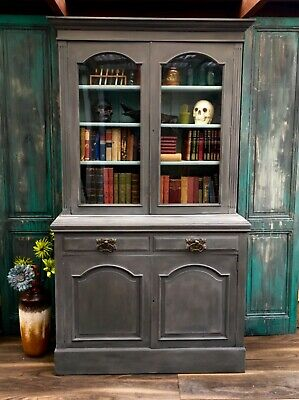 Welsh Dresser Painted Linen Press Armoire Cabinet Dark Grey Glass Fronted