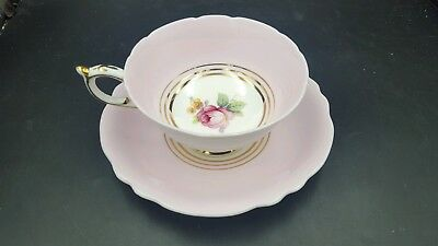 Paragon Pink Rose Gold Trio Border Bone China Tea Cup & Saucer England