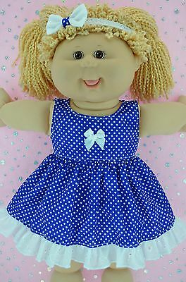 "Play n Wear Doll Clothes For 16"" Cabbage Patch BLUE POLKA DOT DRESS~HEADBAND"