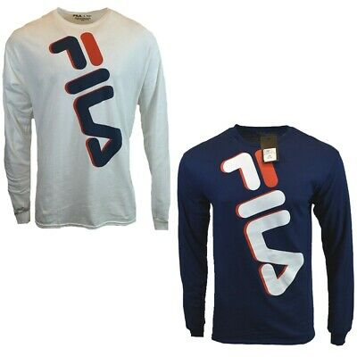 FILA Mens Long Sleeve T Shirt S M L XL 2XL Athletic Apparel Logo BLUE WHITE NEW