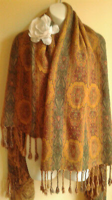 Vintage Rayon Shawl Throw soft Made India,  Warm soft colors 43 x 56""