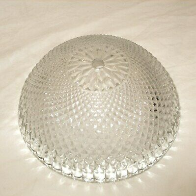 Vintage Glass Shade Lamp Ceiling Light Globe Quilted Diamond Design 8.75""