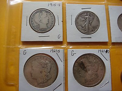 WOW 20 different Dollar & Half Dollar Coins  Mixed dates &Mint 1915-2007 #JUN-13