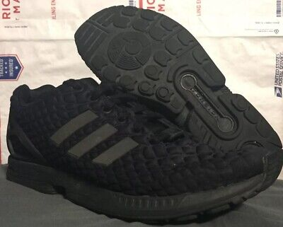 965feaeb8 Mens Adidas ZX Flux Shoes All Black Reflective Logo Stripes Size 8 USED