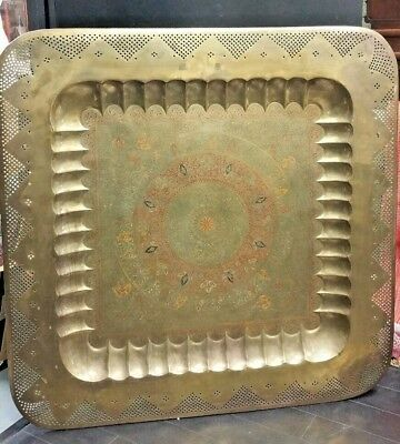 """ANTIQUE LARGE SIZE BRASS, Copper TRAY 45 """"×45"""" HAND CARVED & HAND PAINTED ENAMEL"""