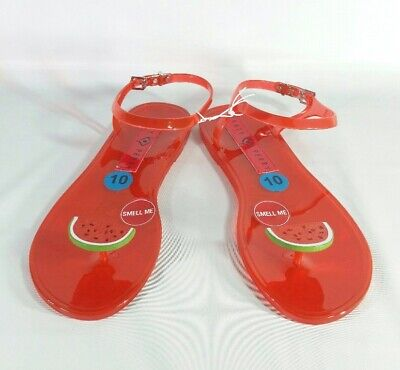 e4ada3f219bc New Katy Perry Geli Watermelon Toe Thong Sandals Ankle Strap Red Scented  Jelly