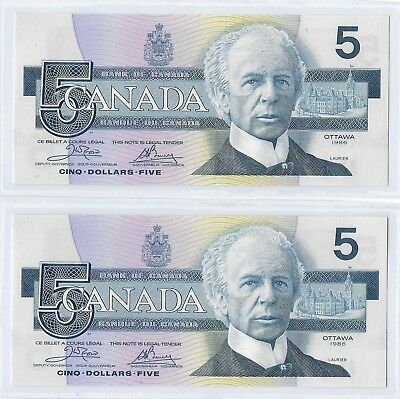 Canada 1986 Pair of $5, Crow & Bouey, Pick# 95a,  Gem Uncirculated