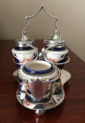 Antique IMARI 3 Piece CONDIMENT SET with Silverplated Stand with Shield LOVELY
