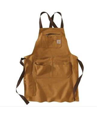 Carhartt Brown Duck Work Apron Multple pockets Adjustable ties