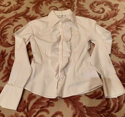 7a08c3616724f Anne Fontaine Ruffle Shirt Cuffs Blouse 36 - Perfect Condition Stretch!!   350