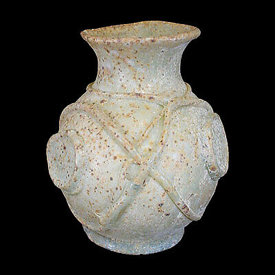 Rare Islamic pale green-brown glass bottle with applied bosses x6415