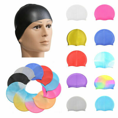Unisex Adult Kid Swimming Hat Waterproof Silicone Shower Swimming Pool Cap W6T1Y