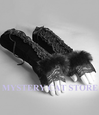 New PUNK RAVE Gothic Victorian Fur Lace 1 Pair of Mittens Gloves S-227 FAST POST