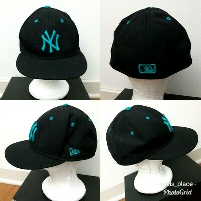 74301040ea0 NEW ERA 59FIFTY Black Teal New York Yankees Fitted Baseball Cap Hat Size 7  5
