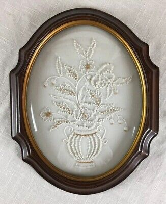Vintage Candlewick Embroidery Plastic Bubble Glass Framed Art 12 x 9.75 x 1.25""