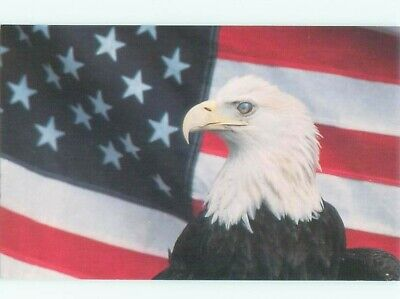 1980 s Patriotic AMERICAN EAGLE WITH USA FLAG ON VETERANS DAY AC0913 d6070e164