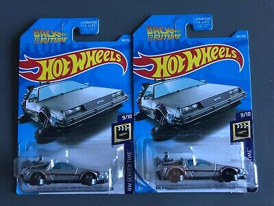 LOT of 2: 2019 Hot Wheels Back to the Future Time Machine DeLorean Hover Series