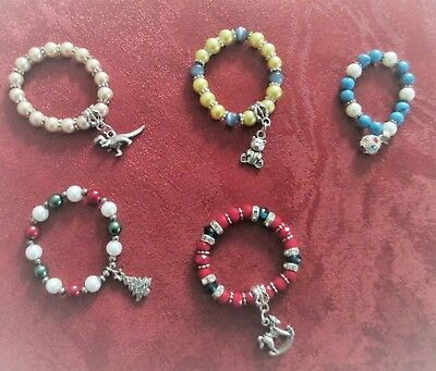 Five Faux Pearl & Beaded Bracelets For Baby Or Reborn Doll