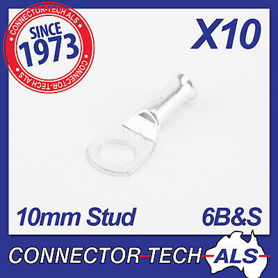 Cable Lugs to Suit 6B&S Cable 10mm Stud / Hole Dual Battery 4WD 12V #10H16x10