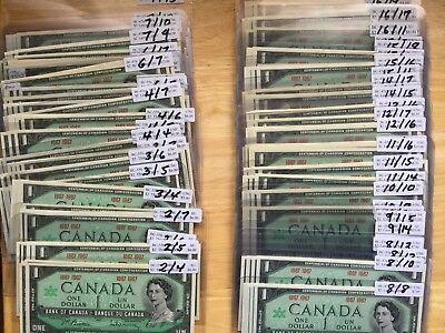 1867-1967 PLATE NUMBERS Bank of Canada $1 All UNCIRCULATED CONDITION