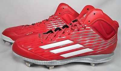 04130bb311c8 Adidas PowerAlley 3 Mid Metal Red Baseball Cleats Mens Size 16 S84785