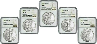 2019 American Silver Eagle - NGC MS-70 - Lot of 5