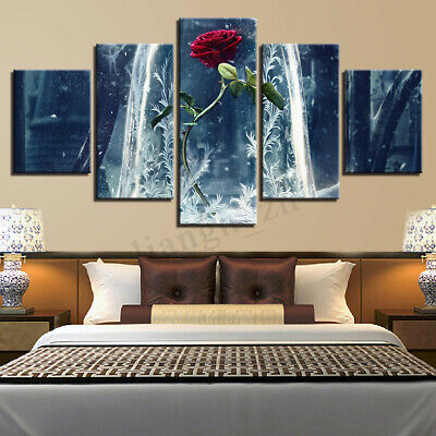 5X Modern Rose Canvas Print Oil Painting Wall Art Picture Home Decor Unframed