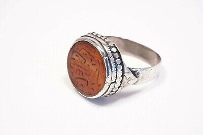 Antique Yemeni Silver Ring with Round, Engraved Carnelian Seal, Size 9