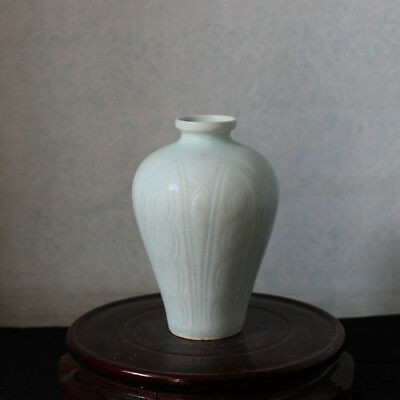Chinese Old Hutian Kiln Shadow Celadon Glaze Porcelain Prunus Vase