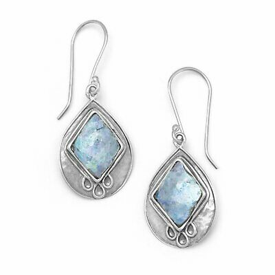 Textured Pear Ancient Roman Glass Earrings Fashion Womens Sterling Silver