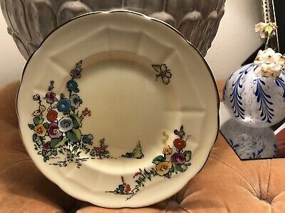 """6 Crown Staffordshire Hollyhock bread and butter plates - hand painted - 6.75"""""""