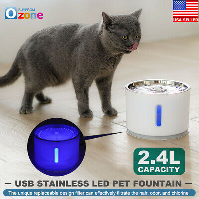 USB Stainless Steel Top LED Automatic Electric 2.4L Cat/Dog Pet Water Fountain