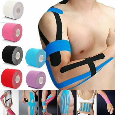 One Roll Elastic Kinesiology Sports Tape Muscle Pain Care Therapeutic 5cm x 5m