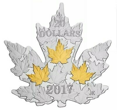 1 oz. PURE SILVER GOLD PLATED COIN - GILDED SILVER MAPLE LEAF 2017