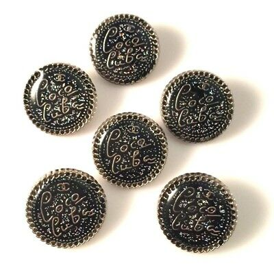 Chanel Buttons - Set x 6 (20mm) Coco Cuba Black and Silver Speckle Buttons