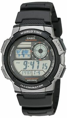 Casio Men's AE1000W-1BVCF Silver-Tone and Black Digital Sport Watch with Black R