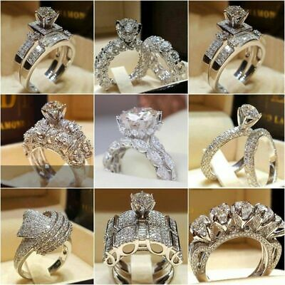 Chic Women White Sapphire 925 Silver Ring Set Wedding Bridal Jewelry Gift Sz5-11