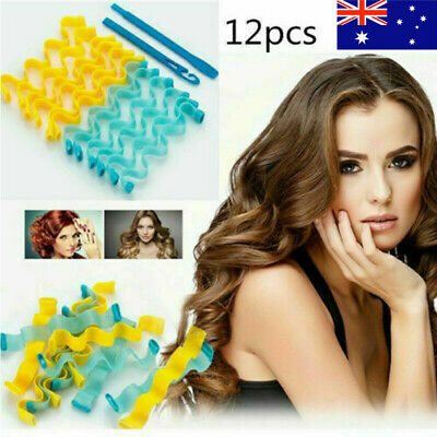 12X Water Wave Magic Curlers Formers Leverage Spiral Hairdressing Tools 30-45cm