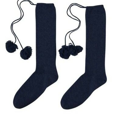 100% Cashmere Navy Pom Pom knee length Socks By Laycuna London BNWT   tissue 2a18b4e525e4