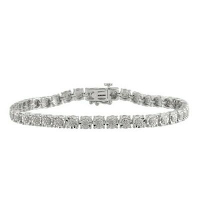 0.25Ct Natural White Round Cut Diamond 925 Sterling Silver Women Tennis Bracelet