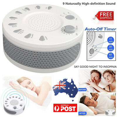 White Noise Sound Machine Deep Sleep Therapy Relax 9 Music Nature Peace Portable
