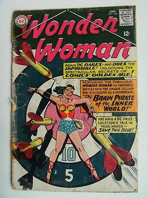 "WONDER WOMAN Vol.1 no.156 Aug.1965 ""The Brain Pirate Of The Inner World!"" RARE"