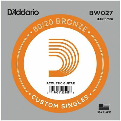 D'addario Single Acoustic Guitar String - Bw027 - 80/20 Bronze Wound - .027