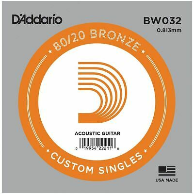 D'addario Single Acoustic Guitar String - Bw032 - 80/20 Bronze Wound - .032