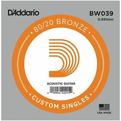 D'addario Single Acoustic Guitar String - Bw039 - 80/20 Bronze Wound - .039