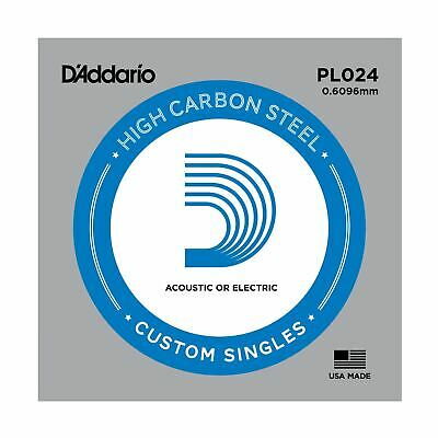 D'addario Single Guitar String - Pl024 Plain Steel Ball End Acoustic & Electric