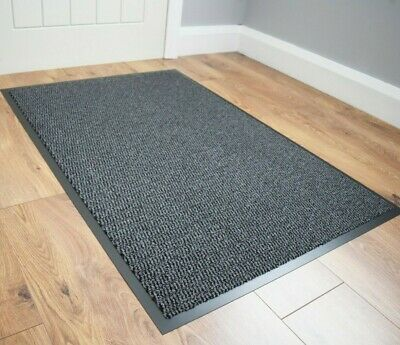 Grey Barrier Mat Long Runner Heavy Duty Non Slip Washable Kitchen Hall Large