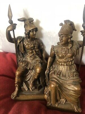 19th Century French Pair Signed Bronze Seated Centurions Beautifully Detailed