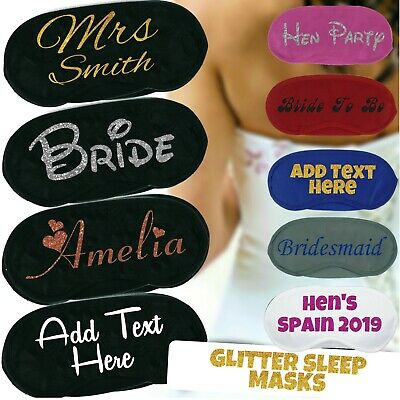 Personalised Glitter Adult Sleep Mask Hen Party Bride To Be Bridesmaid Wedding